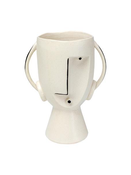 Vaso di design in gres Face, Gres, Bianco, nero, Larg. 23 x Alt. 30 cm