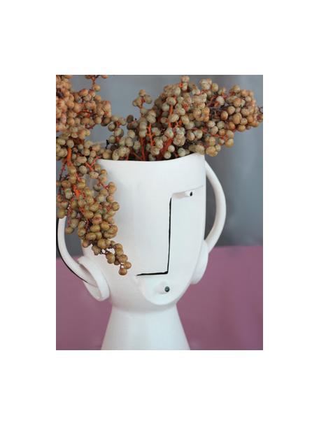 Grote design vaas Face van keramiek, Keramiek, Wit, zwart, 23 x 30 cm