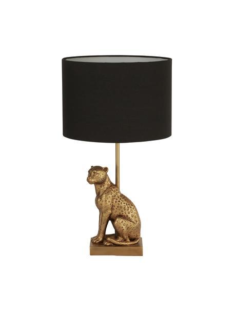 Design tafellamp Leopard, Lampenkap: stof, Lampvoet: polyresin, Zwart, goudkleurig, Ø 24 x H 43 cm