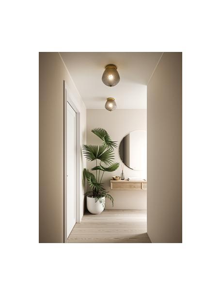 Mała lampa sufitowa ze szkła Orbiform, Odcienie mosiądzu, szary, transparentny, Ø 23 x W 25 cm