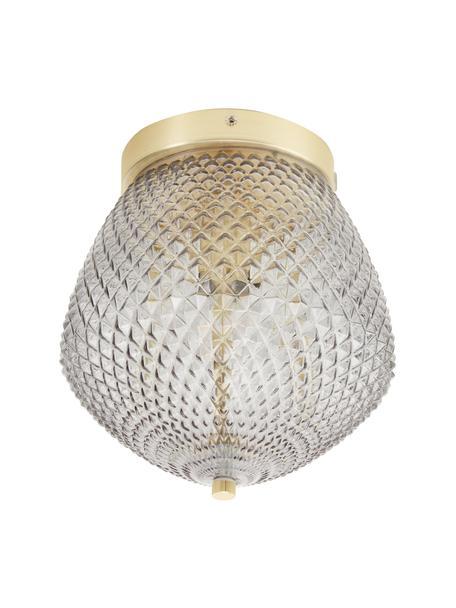 Kleine plafondlamp Orbiform van glas, Lampenkap: glas, Baldakijn: gecoat metaal, Messingkleurig, grijs, transparant, Ø 23 x H 25 cm
