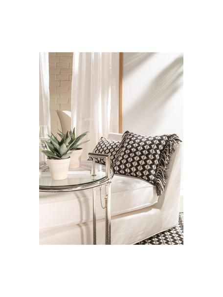 Cojín de interior/exterior Morty, estilo étnico, con relleno, Tapizado: 100%poliéster (Recycelte, Negro, blanco crudo, An 40 x L 40 cm