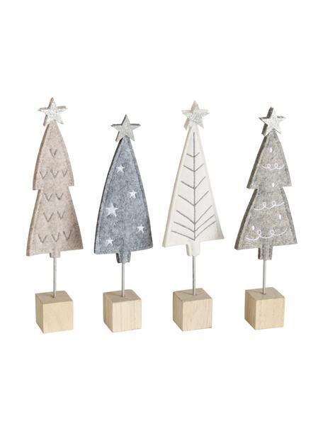 Deko-Bäume Refina aus Filz H 21 cm, 4 Stück, Sockel: Holz, Mehrfarbig, 6 x 21 cm