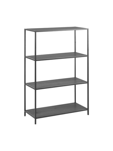 Libreria in legno e metallo Seaford, Ripiani: pannello di fibra a media, Struttura: metallo verniciato a polv, Nero, Larg. 77 x Alt. 114 cm