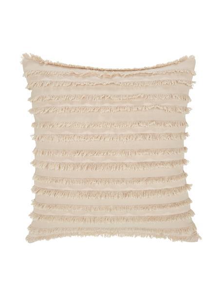Funda de cojín con flecos Jessie, 88%algodón, 7%viscosa, 5%lino, Beige, An 45 x L 45 cm