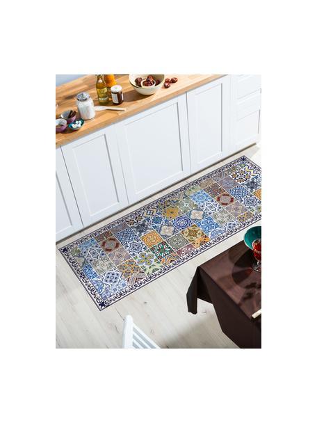 Vlakke vinyl vloermat Pablo met kleurrijke print, antislip, Recyclebaar vinyl, Multicolour, 68 x 180 cm