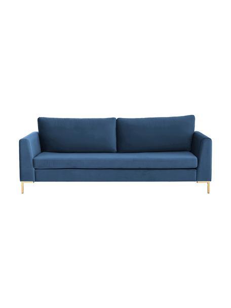 Fluwelen bank Luna (3-zits) in blauw met metalen poten, Bekleding: fluweel (polyester), Frame: massief grenenhout, Poten: gegalvaniseerd metaal, Fluweel blauw, goudkleurig, B 230 x D 95 cm