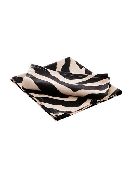 Stoff-Servietten Jill mit Zebra-Print, 2 Stück, 100% Baumwolle, Schwarz, Creme, 45 x 45 cm