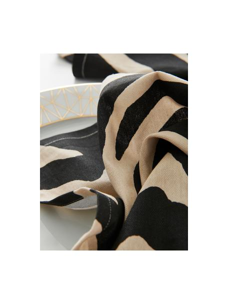 Stoffen servetten Jill met zebra print, 2 stuks, 100% katoen, Zwart, crèmekleurig, 45 x 45 cm