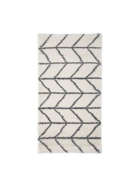 Hochflor-Teppich Cera in Creme/Dunkelgrau, Flor: 100% Polypropylen, Cremeweiß, Dunkelgrau, B 80 x L 150 cm (Größe XS)