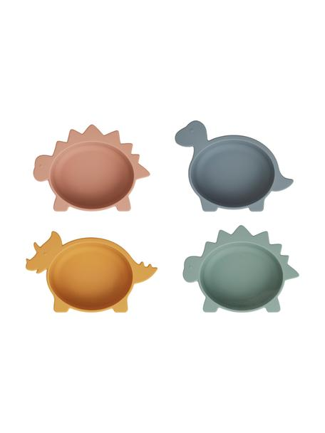 Set de cuencos Iggy Dino, 4uds., 100%silicona, Multicolor, Ø 12 x Al 5 cm