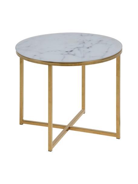 Tavolino con piano in vetro marmorizzato Antigua, Piano d'appoggio: vetro con stampa opaca, Struttura: acciaio ottonato, Bianco, ottone, Ø 50 x Alt. 42 cm