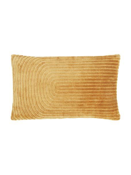 Fluwelen kussenhoes Carraway met structuurpatroon, Mosterdgeel, 30 x 50 cm