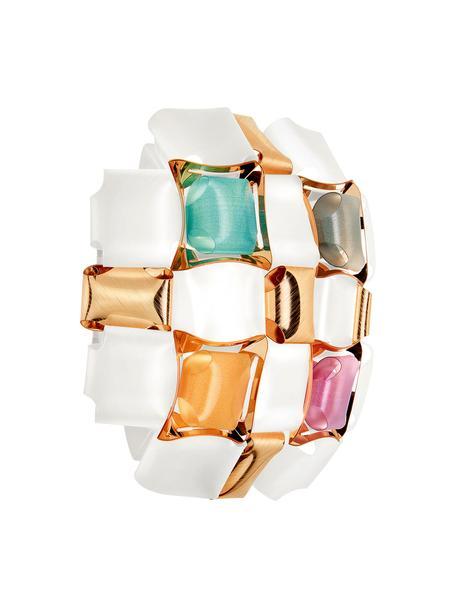 Design Wandleuchte Mida aus Kunststoff, Lampenschirm: Lentiflex, Opalflex, Copp, Weiß, Mehrfarbig, 32 x 32 cm