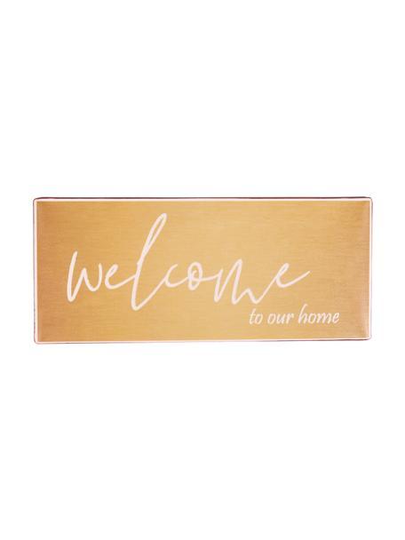 Wandschild Welcome to our home, Metall, beschichtet, Orange, Weiss, 31 x 13 cm
