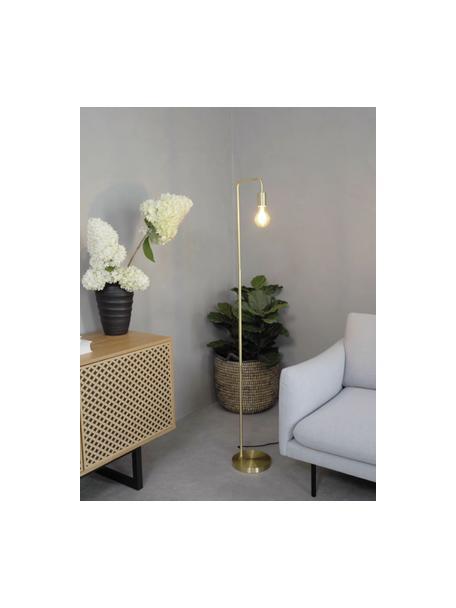 Leeslamp Flow van metaal, Lamp: vermessingd metaal, Geborsteld messingkleurig, 33 x 153 cm