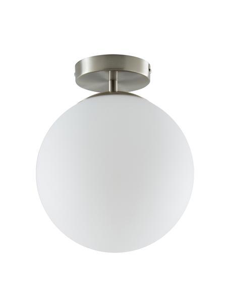 Kleine plafondlamp Hitch van glas, Baldakijn: vernikkeld metaal, Lampenkap: glas, Baldakijn en fitting: mat zilverkleurig. Lampenkappen: wit, Ø 25 x H 30 cm