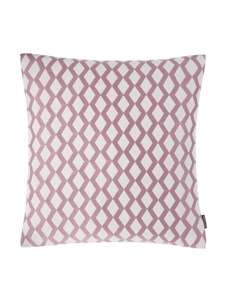 Kussenhoes Matteo met patroon, 51% viscose, 25% polyester, 15% linnen, 9% katoen, Roze, gebroken wit, 40 x 40 cm