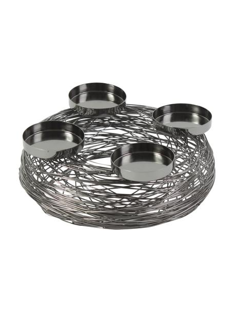 Wieniec adwentowy Tangle, Metal, Nikiel czarny, Ø 28 x W 11 cm