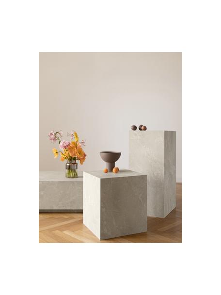 Tavolino da salotto effetto travertino Lesley, Pannello di fibra a media densità (MDF) rivestito con foglio di melamina, Beige, effetto travertino, Larg. 90 x Alt. 35 cm