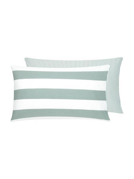 Funda de almohada de algodón Lorena, 50x70cm, Verde salvia, blanco, An 50 x L 70 cm