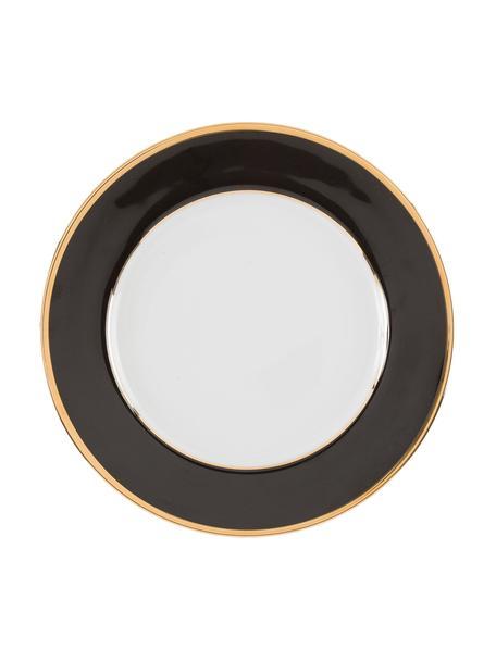 Talerz śniadaniowy z porcelany Ginger, 6 szt., Porcelana, Czarny, biały, odcienie złotego, Ø 20 cm