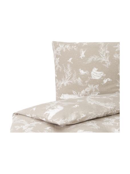 Pościel z flaneli Animal Toile, Beżowy, 135 x 200 cm + 1 poduszka 80 x 80 cm