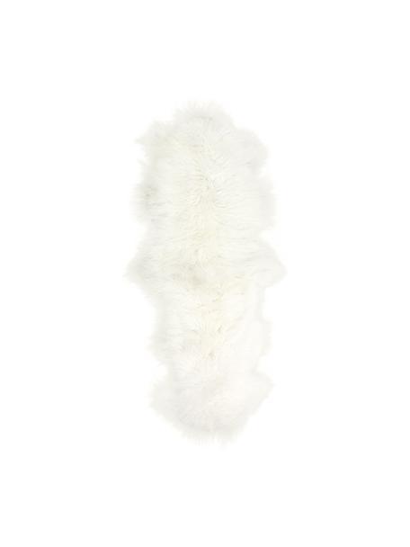Langhaar-Lammfell-Teppich Ella, gelockt, Vorderseite: Mongolisches Lammfell, Rückseite: Leder, Naturweiß, 50 x 160 cm