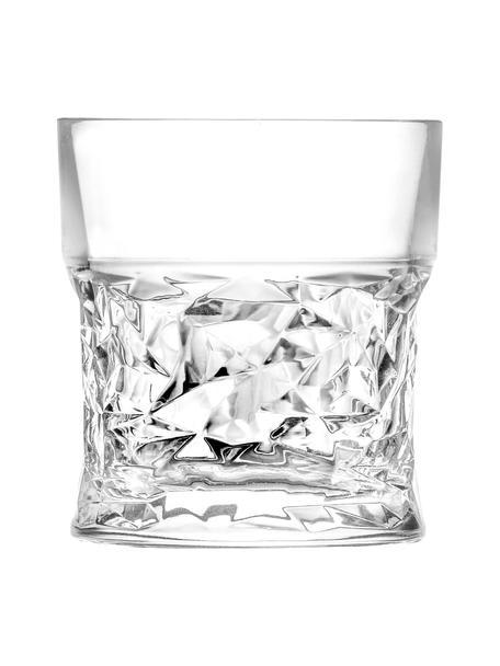 Szklanka do whiskey ze szkła kryształowego z reliefem Bicchiero, 6 szt., Szkło kryształowe, Transparentny, Ø 9 x W 10 cm