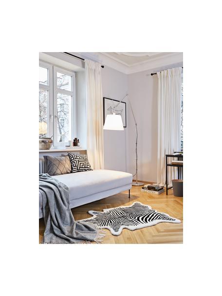 Handgetuft wollen vloerkleed Savanna Zebra, Bovenzijde: 100% wol, Onderzijde: 100% katoen Bij wollen vl, Zwart, crèmekleurig, B 95 x L 120 cm (maat XS)