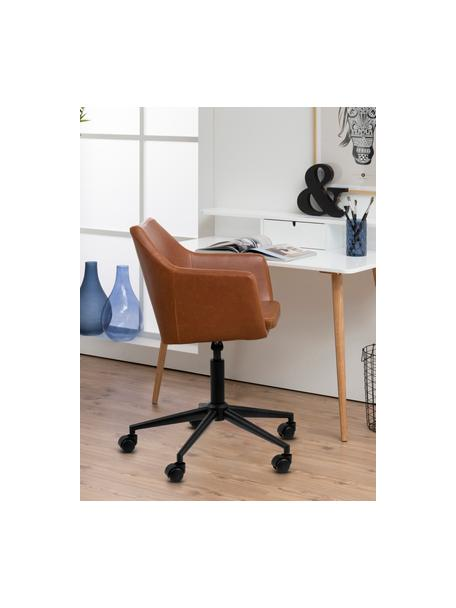 Biurowe krzesło obrotowe ze sztucznej skóry Nora, Tapicerka: sztuczna skóra (poliureta, Nogi: metal malowany proszkowo, Koniakowy, S 58 x G 58 cm