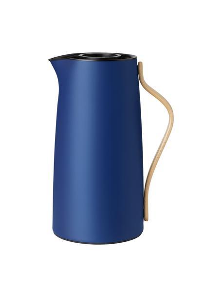 Termo Emma, 1.2L, Estructura: acero inoxidable recubier, Asa: madera de haya, Azul, beige, 1 L