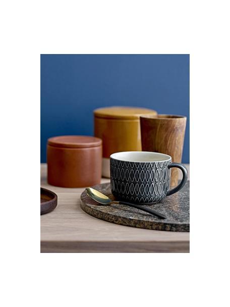 Tazas de café Naomi, 4uds., Gres, Azul, blanco, Ø 10 x Al 7 cm