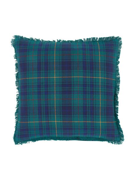Poszewka na poduszkę z frędzlami Stirling, 100% bawełna, Ciemny niebieski, ciemny zielony, żółty, S 45 x D 45 cm