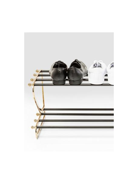 Metalen schoenenrek Walk met twee schappen, Frame: gepoedercoat aluminium, Goudkleurig, zwart, 84 x 34 cm
