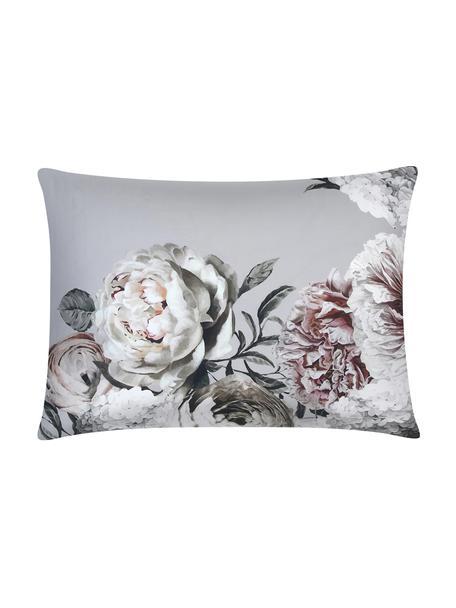 Baumwollsatin-Kissenbezug Blossom, 50 x 70 cm, Webart: Satin Fadendichte 210 TC,, Grau, 50 x 70 cm