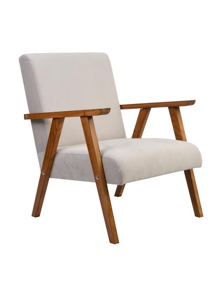 Sedia in velluto con braccioli beige/marrone Victoria, Rivestimento: velluto (100% poliestere), Struttura: legno, Velluto beige, gambe marrone chiaro, Larg. 60 x Prof. 69 cm