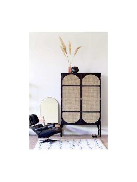 Armadio nero con intreccio viennese Retro, Maniglie: metallo rivestito, Intreccio viennese: canna da zucchero, Marrone scuro, Larg. 125 x Alt. 200 cm