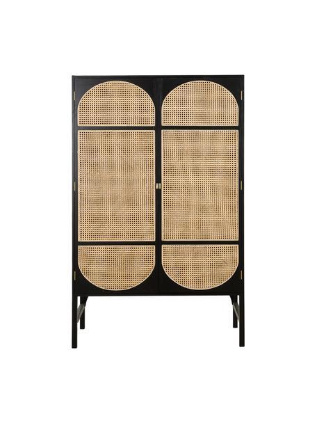 Kledingkast Retro met Weens vlechtwerk, Handvatten: gecoat metaal, Donkerbruin, 125 x 200 cm