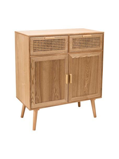 Cómoda de madera Romeo, Estructura: tablero de fibras de dens, Fresno, An 75 x Al 86 cm