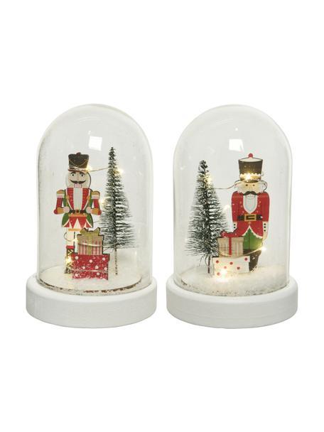 Set 2 oggetti luminosi a LED Nussknacker, Vetro, legno, materiale sintetico, Trasparente, bianco, multicolore, Ø 10 x Alt. 15 cm