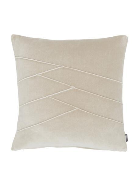 Poduszka z aksamitu z wypełnieniem Pintuck, Tapicerka: 55% rayon, 45% bawełna, Beżowy, S 45 x D 45 cm