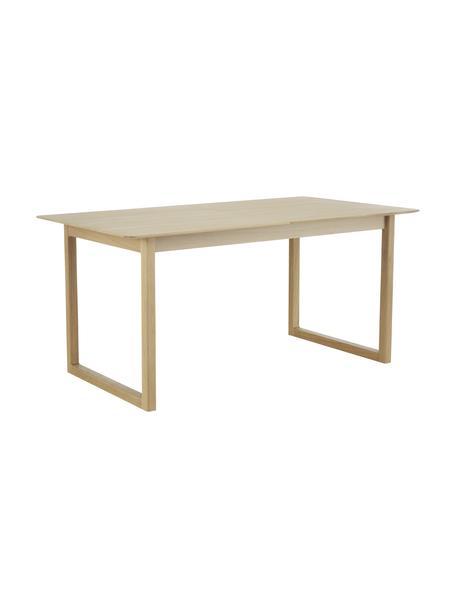 Uitschuifbare houten eettafel Calla, Tafelblad: MDF met eikenhoutfineer, Poten: massief eikenhout, Licht hout, 160 x 90 cm