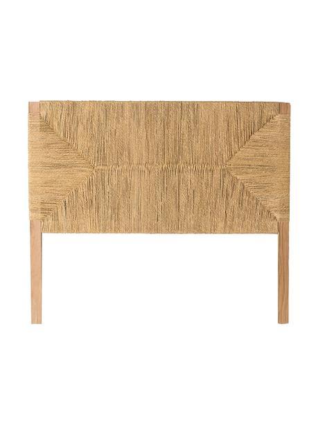 Cabecero de madera Bubu, Marrón oscuro, Beige, An 140 x Al 120 cm