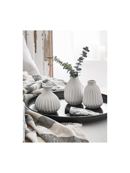 Set de jarrones Palo, 3pzas., Porcelana, Blanco, superficie rugosa, no esmaltada, Set de diferentes tamaños