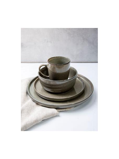 Steingut Tassen Ceylon in Grau/Grün gesprenkelt, 2 Stück, Steingut, Bräunlich, Grüntöne, Ø 9 x H 10 cm
