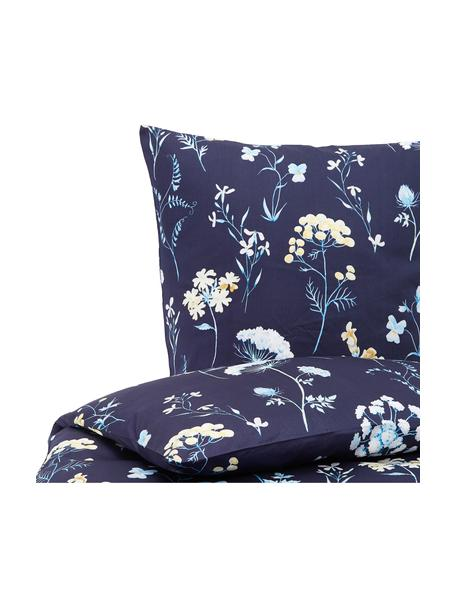 Baumwollsatin-Bettwäsche Marine mit Blumenmotiv, Webart: Satin Baumwollsatin wird , Weiß, Dunkelblau, 135 x 200 cm + 1 Kissen 80 x 80 cm