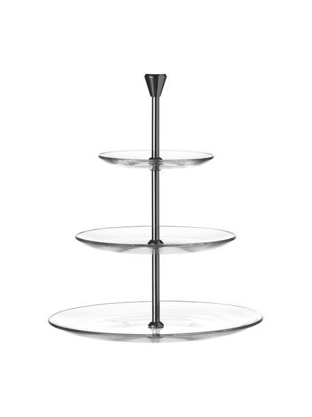 Etagère Pralina van glas met zilverkleurige frame, Ø 28 cm, Stang: edelstaal, Transparant, Ø 28 x H 32 cm