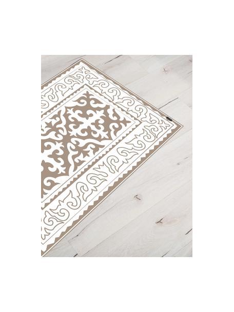 Flache Vinyl-Bodenmatte Aksana in Taupe/Weiß, rutschfest, Vinyl, recycelbar, Weiß, Taupe, 65 x 85 cm
