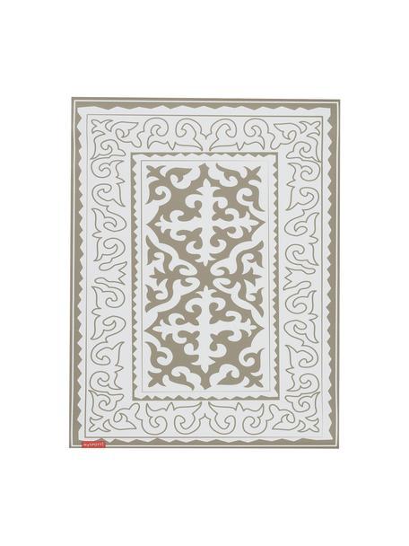 Vlakke vinyl vloermat Aksana in taupe / wit, antislip, Recyclebaar vinyl, Wit, taupe, 65 x 85 cm